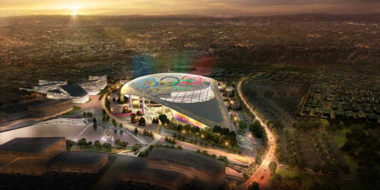 Image: Los Angeles' Olympic bid committee rendering shows how L.A. Stadium at Hollywood Park would look like after receiving an Olympics-style makeover