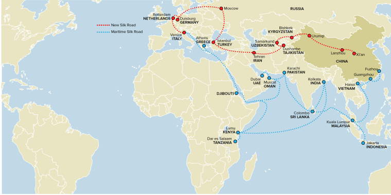 """Image: Graphic showing the proposed new """"Silk Road"""""""