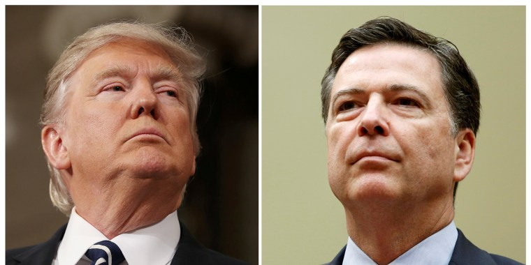 Image: A Combination Photo Shows President Donald Trump and FBI Director James Comey in Washington