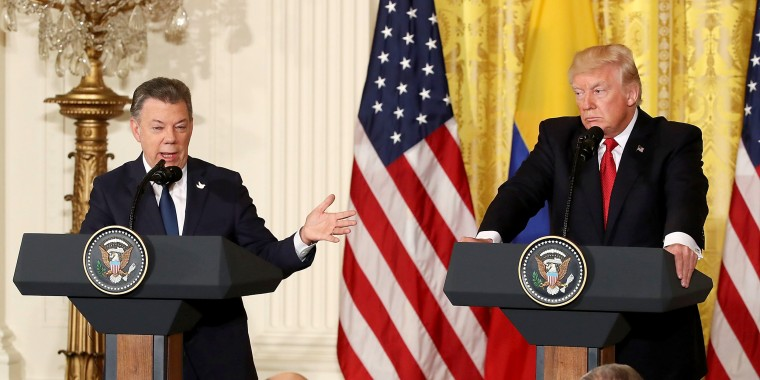 Image: Donald Trump Holds Joint Press Conference With Colombian President Santos