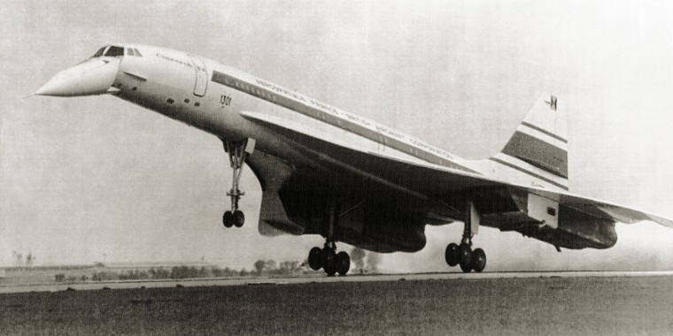 "The ""Concorde 001"" lands at Le Bourget in Paris, in 1971."