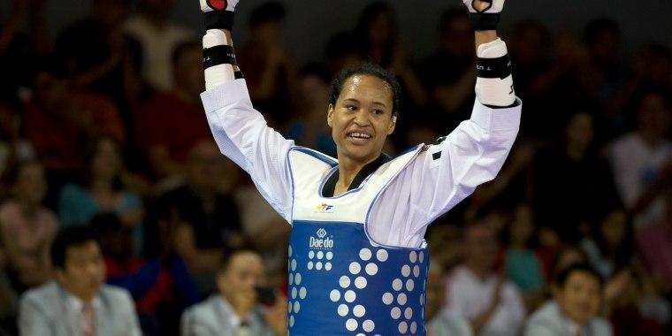 Image: Paige McPherson Paige McPherson of the U.S. celebrates winning the gold medal  in the women's taekwondo