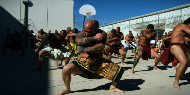 Inmates at the Saguaro Correctional Center in Eloy, Arizona perform a chant as a part of their protocol to celebrate makahiki, a period in the native Hawaiian lunar calendar when peace and proseprerity are at focus.