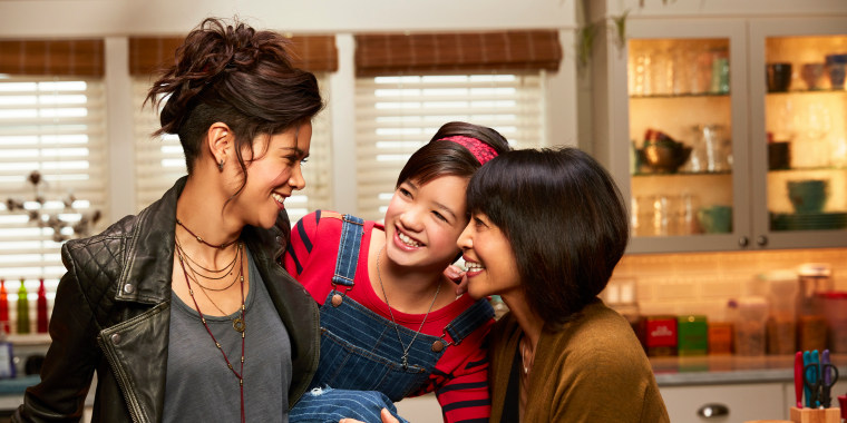 """The women of Disney's """"Andi Mack,"""" from left to right: Lilan Bowden, Peyton Elizabeth Lee, Lauren Tom."""