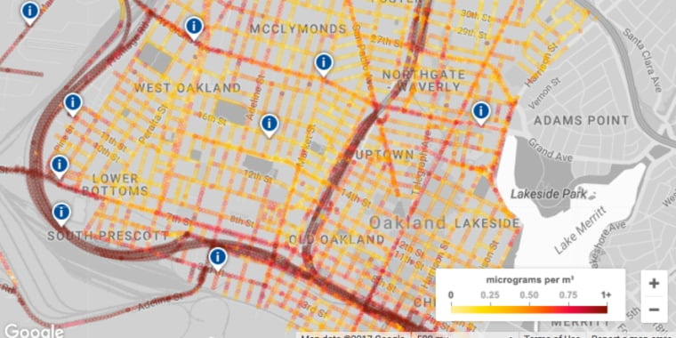 Two Google Street View cars rigged with air quality monitoring equipment drove more than 14,000 miles around Oakland for the first leg of this environmental study.