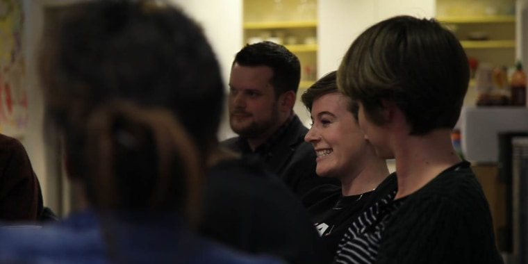 Brian Collins (C) from The Irish Refugee Council and Oonagh Murphy, co-founder of the Identity LGBT group for asylum seekers, attend a meeting in Dublin, Ireland on April 29, 2017.