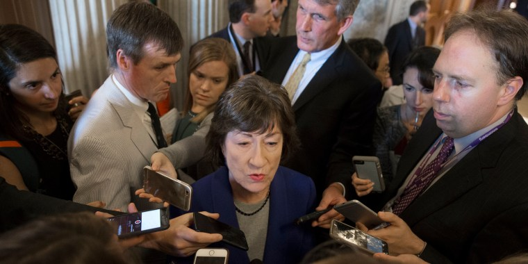 Image: Republican Senator from Maine Susan Collins speaks to members of the media outside the Senate chamber on Capitol Hill