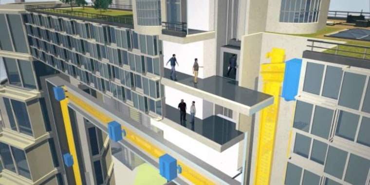 Screenshot of animation of the Maglev elevator