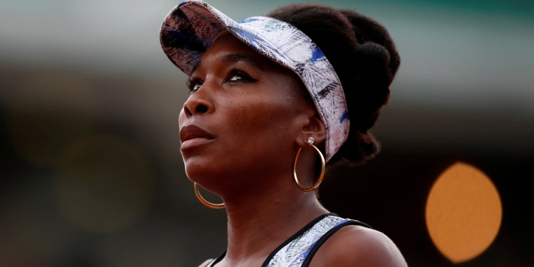 Image: FILE PHOTO: USA's Venus Williams reacts during her third round match against Belgium's Elise Mertens during the French Open at Roland Garros stadium in Paris