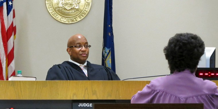 Image: Court Judge Craig Hannah presides over Opiate Crisis Intervention Court in Buffalo