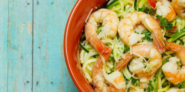 Image: Jumbo Shrimp on top of Spiralized zucchini