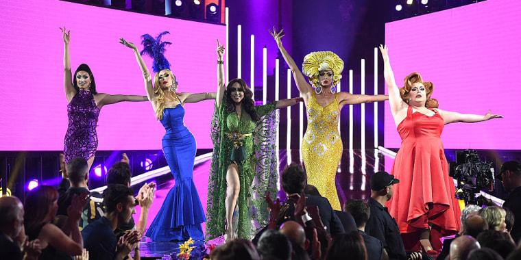 """RuPaul's Drag Race"" All-Stars Tatiana, Alaska Thunderfvck, Phi Phi O'Hara, Alyssa Edwards and Ginger Minj perform at the 2016 Logo's Trailblazer Honors at Cathedral of St. John the Divine on June 23, 2016 in New York City."
