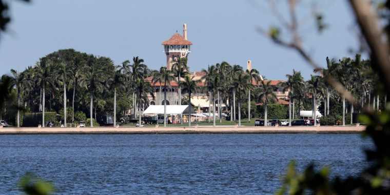 President Donald Trump's Mar-a-Lago resort is seen from the mainland on April 7, 2017, in Palm Beach, Florida.