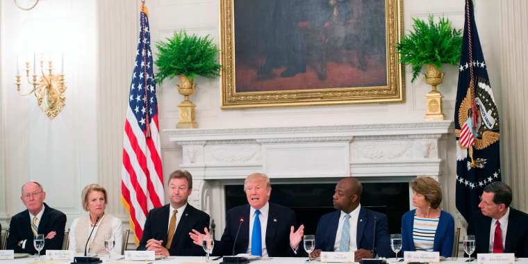 Image: US President Donald Trump speaks alongside Republican Senators during a meeting to discuss the health care bill