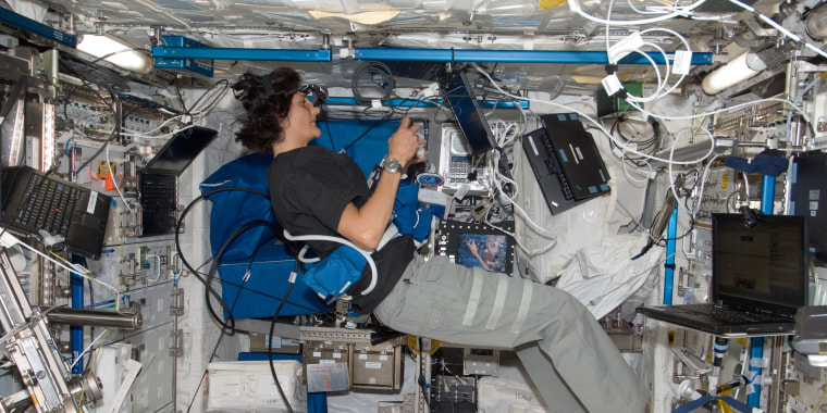 """NASA astronaut Sunita """"Suni"""" Williams works on the Reversible Figures (RFx) experiment in the Columbus laboratory of the International Space Station in July of 2012."""