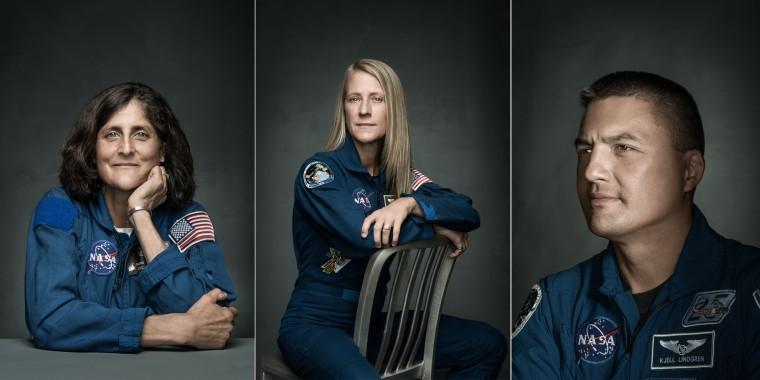 "From left to right: astronauts Sunita ""Suni"" Williams, Karen Nyberg, and Kjell Lindgren"