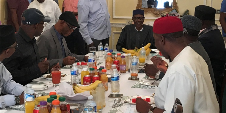 Image: Nigeria's President Muhammadu Buhari receives a delegation of the All Progressives Congress (APC) party in Abuja House in London, Britain
