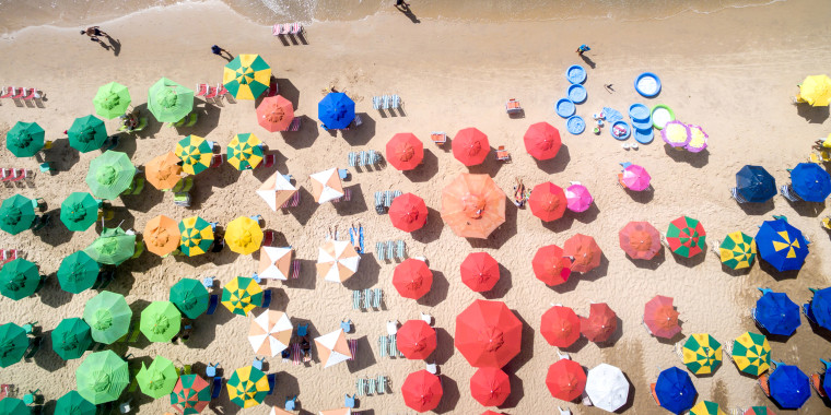 Image: Top View of Umbrellas in a Beach