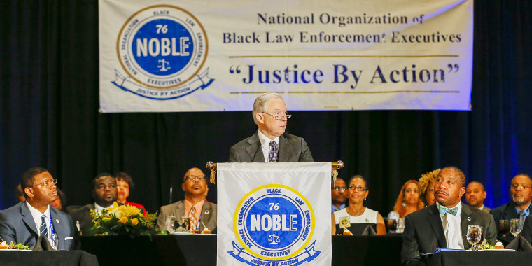 Image: US Attorney General Jeff Sessions speaks to the National Organization of Black Law Enforcement Executives
