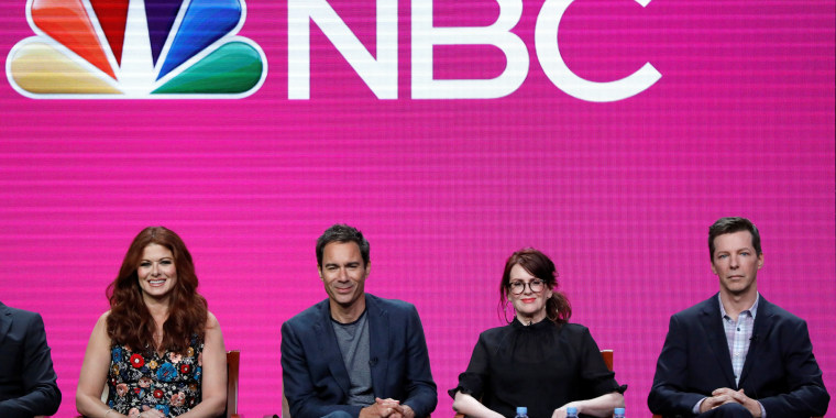 """Image: Cast members Messing, McCormack, Mullally and Hayes attend a panel for the television series """"Will & Grace"""" during the TCA NBC Summer Press Tour in Beverly Hills"""