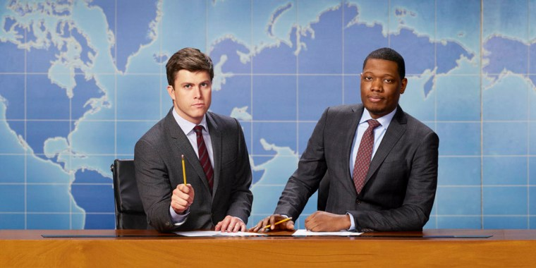 """Image: """"Saturday Night Live: Weekend Update"""" anchors Colin Jost and Michael Che"""