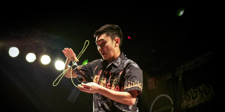 """Evan Nagao at the 2017 European YoYoContest in Bratislava, Slovakia. He placed first in his division after a routine set to Lynyrd Skynyrd's """"Freebird."""""""