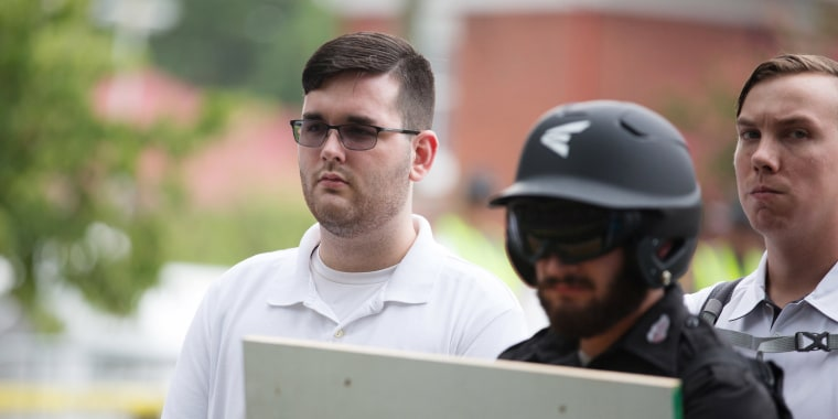 Image: James Alex Fields Jr. is seen participating in Unite The RIght rally before his arrest in Charlottesville