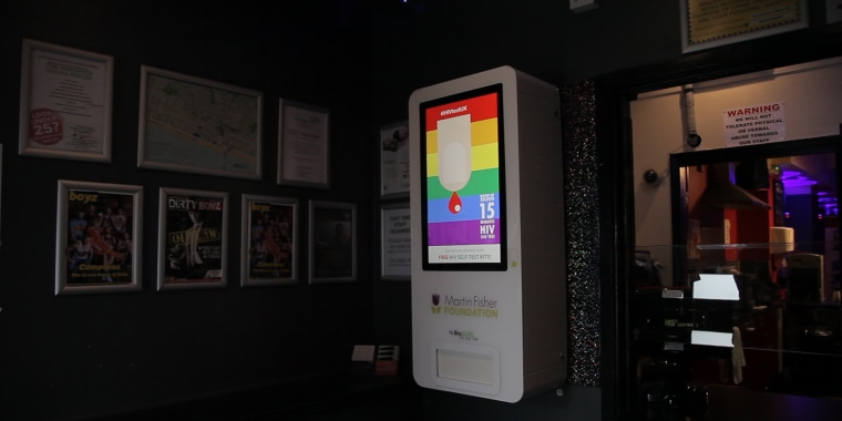A vending machine dispensing free HIV tests is seen at the entrance of the Brighton Sauna in Brighton, Britain, August 10, 2017. THOMSON REUTERS FOUNDATION/Cormac O'Brien