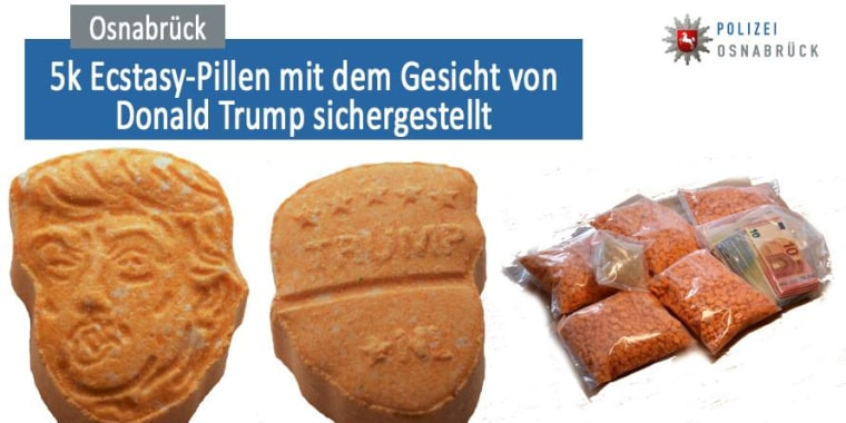 The police department in Osnabrueck, Germany, seized ecstasy pills on Saturday that were decorated with the face of Donald Trump.