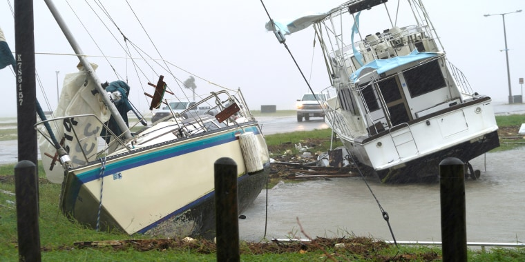 Image: Boats are Pushed Ashore by Hurricane Harvey in Port Lavaca