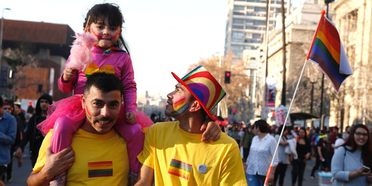 Image: FILE PHOTO: A couple take part in the gay pride to demand a new law of gender equality after President Michelle Bachelet sets marriage equality as government priority,  Santiago