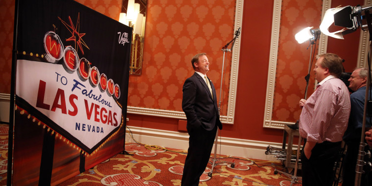 Image: U.S. Sen. Dean Heller R-Nev. gives an interview at an aviation conference