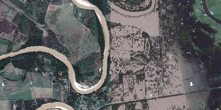 Image: A satellite image show before and after Tropical Storm Harvey hit Simonton, Texas