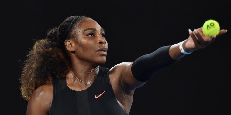 Image: Serena Williams serves