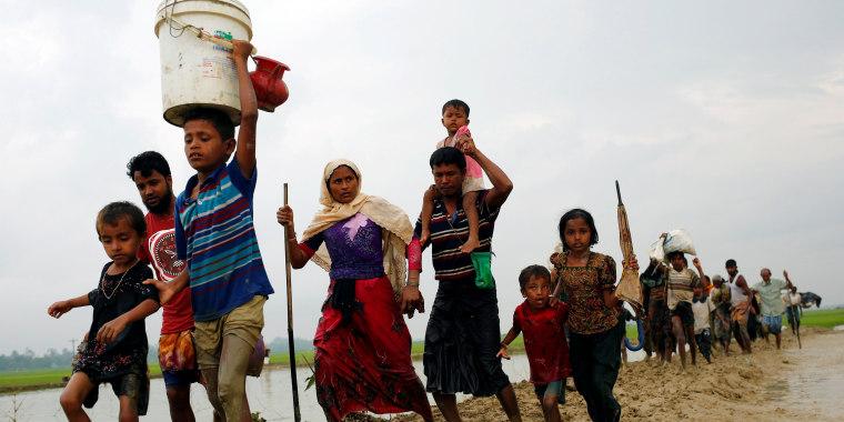 Image: Rohingya refugee after crossing the Bangladesh-Myanmar border