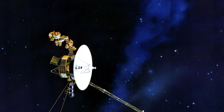 The antenna of NASA's Voyager spacecraft points towards Earth in this artist's conception.