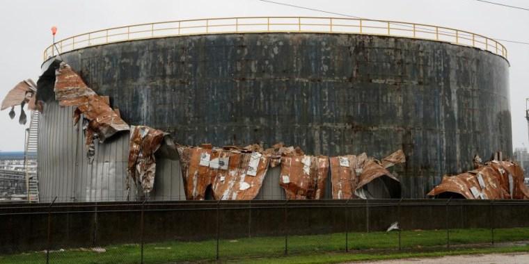 An oil tank damaged by Hurricane Harvey is seen near Seadrift