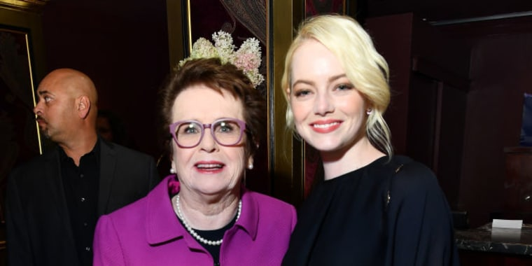 Billie Jean King (L) and Emma Stone at the 2017 Toronto International Film Festival on September 9, 2017 in Toronto, Canada.