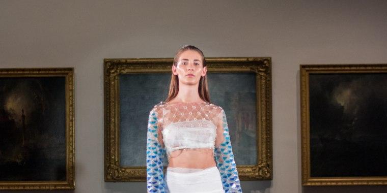 Transgender model Juliet Evancho wearing designer Clio Sage