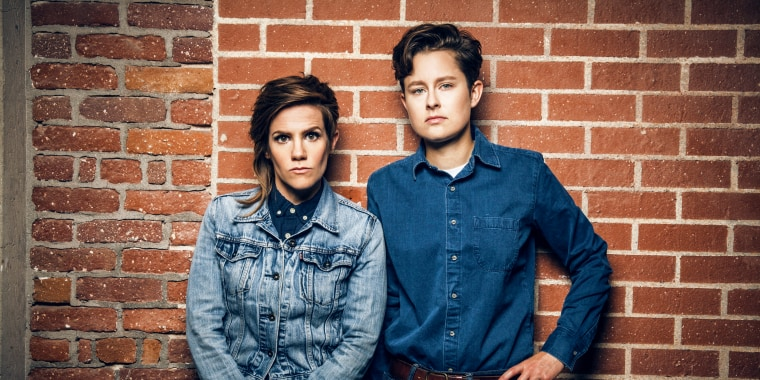 Married comedy duo Rhea Butcher (left) and Cameron Esposito