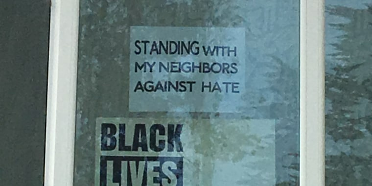 A Black Lives Matter sign displayed in the window of Debbie Lee's San Francisco home.