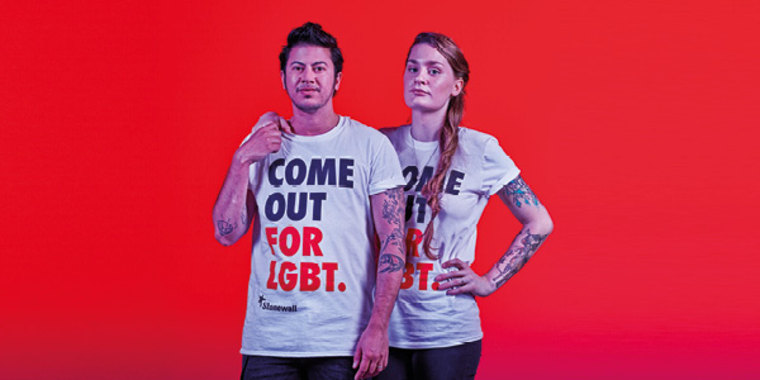 "An image from the ""Come Out For LGBT"" campaign, launched by UK gay rights group Stonewall"