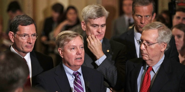Image: Senate Lawmakers Speak To The Media After Their Weekly Policy Luncheons