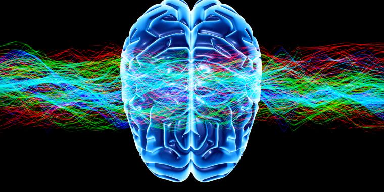 Image: Human brain and waves