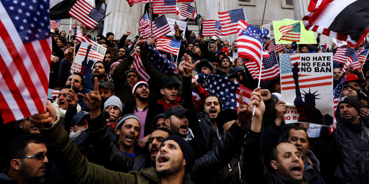 Image: Demonstrators participate in a protest by the Yemeni community against U.S. President Donald Trump's travel ban in the Brooklyn borough of New York