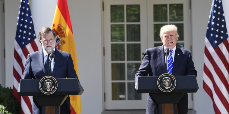 Image: US President Donald Trump holds a joint press conference with Spanish Prime Minister Mariano Rajoy