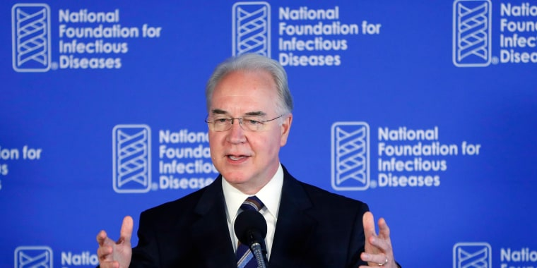 Image:Health and Human Services Secretary Tom Price speaks during a National Foundation for Infectious Diseases (NFID) news conference