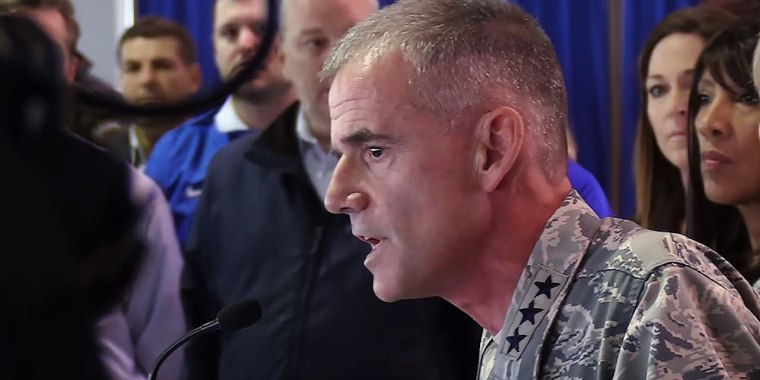Lt. Gen. Jay Silveria addresses cadets at the U.S. Air Force Academy on Sept. 28.