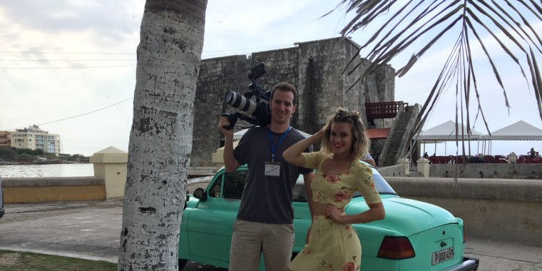 1st Look director and senior producer Brian Mait and host Ashley Roberts on the Malec?n, which stretches along the coast in Havana.