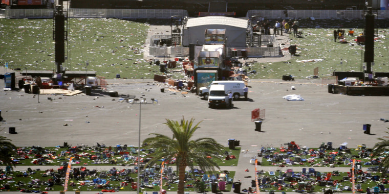 Image: Debris is strewn through the scene of a mass shooting in Las Vegas